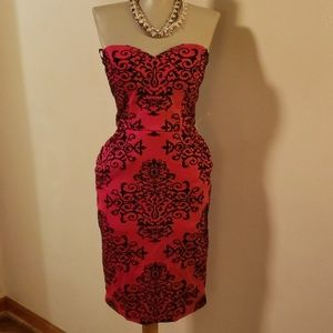 ⭐  B Darlin gorg red/blk strapless dress.  5/6